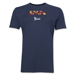 Spain 2014 FIFA World Cup Brazil(TM) Men's Premium Palm T-Shirt (Navy)
