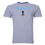 Uruguay 2014 FIFA World Cup Brazil(TM) Men's Premium Core T-Shirt (Grey)