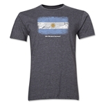 Argentina FIFA World Cup Brazil(TM) Men's Premium Flag T-Shirt (Dark Gray)