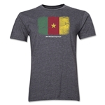 Cameroon FIFA World Cup Brazil(TM) Men's Premium Flag T-Shirt (Dark Gray)