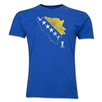Bosnia and Herzegovina 2014 FIFA World Cup Brazil(TM) Distressed Men's Premium Flag in Country T-Shirt (Royal)