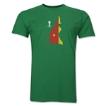 Cameroon 2014 FIFA World Cup Brazil(TM) Distressed Men's Premium Flag in Country T-Shirt (Green)