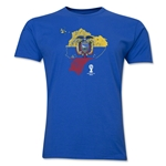 Ecuador 2014 FIFA World Cup Brazil(TM) Distressed Men's Premium Flag in Country T-Shirt (Royal)