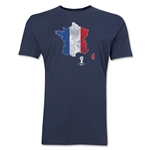 France 2014 FIFA World Cup Brazil(TM) Distressed Men's Premium Flag in Country T-Shirt (Navy)