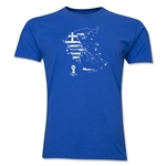 Greece 2014 FIFA World Cup Brazil(TM) Distressed Men's Premium Flag in Country T-Shirt (Royal)