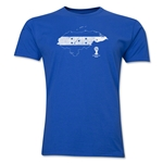 Honduras 2014 FIFA World Cup Brazil(TM) Distressed Men's Premium Flag in Country T-Shirt (Royal)