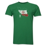 Iran 2014 FIFA World Cup Brazil(TM) Distressed Men's Premium Flag in Country T-Shirt (Green)