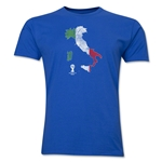 Italy 2014 FIFA World Cup Brazil(TM) Distressed Men's Premium Flag in Country T-Shirt (Royal)