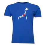 Japan 2014 FIFA World Cup Brazil(TM) Distressed Men's Premium Flag in Country T-Shirt (Royal)