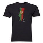 Portugal 2014 FIFA World Cup Brazil(TM) Distressed Men's Premium Flag in Country T-Shirt (Black)