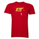 Spain 2014 FIFA World Cup Brazil(TM) Distressed Men's Premium Flag in Country T-Shirt (Red)