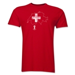Switzerland 2014 FIFA World Cup Brazil(TM) Distressed Men's Premium Flag in Country T-Shirt (Red)