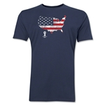 USA 2014 FIFA World Cup Brazil(TM) Distressed Men's Premium Flag in Country T-Shirt (Navy)