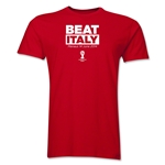 England Beat Italy 2014 FIFA World Cup Brazil(TM) Men's Premium T-Shirt (Red)