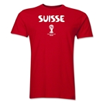 Switzerland 2014 FIFA World Cup Brazil(TM) Men's Premium Native Language T-Shirt (Black)