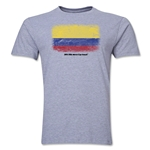 Colombia FIFA World Cup Brazil(TM) Men's Premium Flag T-Shirt (Gray)