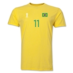 Brazil FIFA World Cup Brazil(TM) Men's Number 11 T-Shirt (Yellow)
