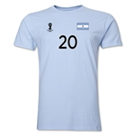 Argentina FIFA World Cup Brazil(TM) Men's Number 20 T-Shirt (Sky)