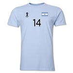 Argentina FIFA World Cup Brazil(TM) Men's Number 14 T-Shirt (Sky)