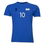Argentina FIFA World Cup Brazil(TM) Men's Number 10 T-Shirt (Royal)