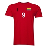 Colombia FIFA World Cup Brazil(TM) Men's Number 9 T-Shirt (Red)