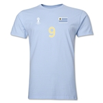 Uruguay FIFA World Cup Brazil(TM) Men's Number 9 T-Shirt (Sky)