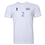 Uruguay FIFA World Cup Brazil(TM) Men's Number 2 T-Shirt (White)