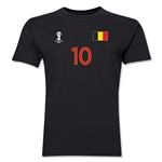 Belgium FIFA World Cup Brazil(TM) Men's Number 10 T-Shirt (Black)