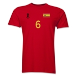 Spain FIFA World Cup Brazil(TM) Men's Number 6 T-Shirt (Red)