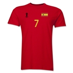 Spain FIFA World Cup Brazil(TM) Men's Number 7 T-Shirt (Red)