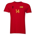 Spain FIFA World Cup Brazil(TM) Men's Number 14 T-Shirt (Red)
