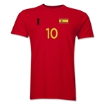 Spain FIFA World Cup Brazil(TM) Men's Number 10 T-Shirt (Red)