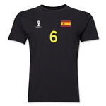 Spain FIFA World Cup Brazil(TM) Men's Number 6 T-Shirt (Black)