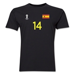 Spain FIFA World Cup Brazil(TM) Men's Number 14 T-Shirt (Black)