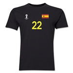 Spain FIFA World Cup Brazil(TM) Men's Number 22 T-Shirt (Black)
