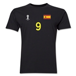 Spain FIFA World Cup Brazil(TM) Men's Number 9 T-Shirt (Black)