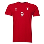 Switzerland FIFA World Cup Brazil(TM) Men's Number 9 T-Shirt (Red)