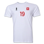 Switzerland FIFA World Cup Brazil(TM) Men's Number 19 T-Shirt (White)