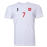 Switzerland FIFA World Cup Brazil(TM) Men's Number 7 T-Shirt (White)
