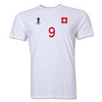 Switzerland FIFA World Cup Brazil(TM) Men's Number 9 T-Shirt (White)