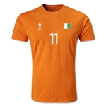 Cote d'Ivoire FIFA World Cup Brazil(TM) Men's Number 11 T-Shirt (Orange)