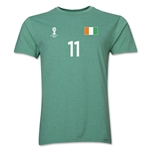 Cote d'Ivoire FIFA World Cup Brazil(TM) Men's Number 11 T-Shirt (Heather Green)