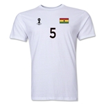 Ghana FIFA World Cup Brazil(TM) Men's Number 5 T-Shirt (White)