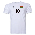 Ghana FIFA World Cup Brazil(TM) Men's Number 10 T-Shirt (White)