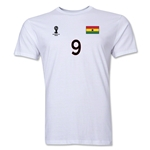 Ghana FIFA World Cup Brazil(TM) Men's Number 9 T-Shirt (White)