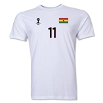 Ghana FIFA World Cup Brazil(TM) Men's Number 11 T-Shirt (White)