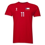 Chile FIFA World Cup Brazil(TM) Men's Number 11 T-Shirt (Red)