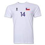 Chile FIFA World Cup Brazil(TM) Men's Number 14 T-Shirt (White)