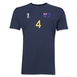 Australia FIFA World Cup Brazil(TM) Men's Number 4 T-Shirt (Navy)