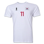 South Korea FIFA World Cup Brazil(TM) Men's Number 11 T-Shirt (White)
